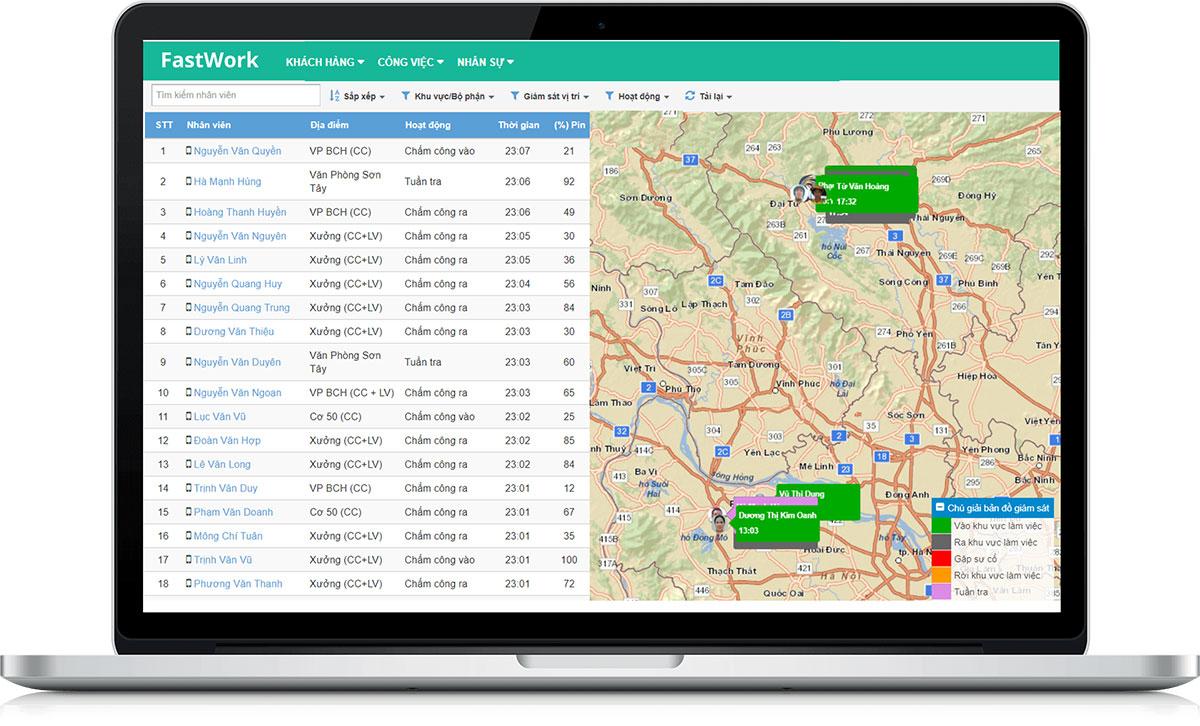 FastWork giám sát nhân viên làm việc ngoài văn phòng qua bản đồ số GPS