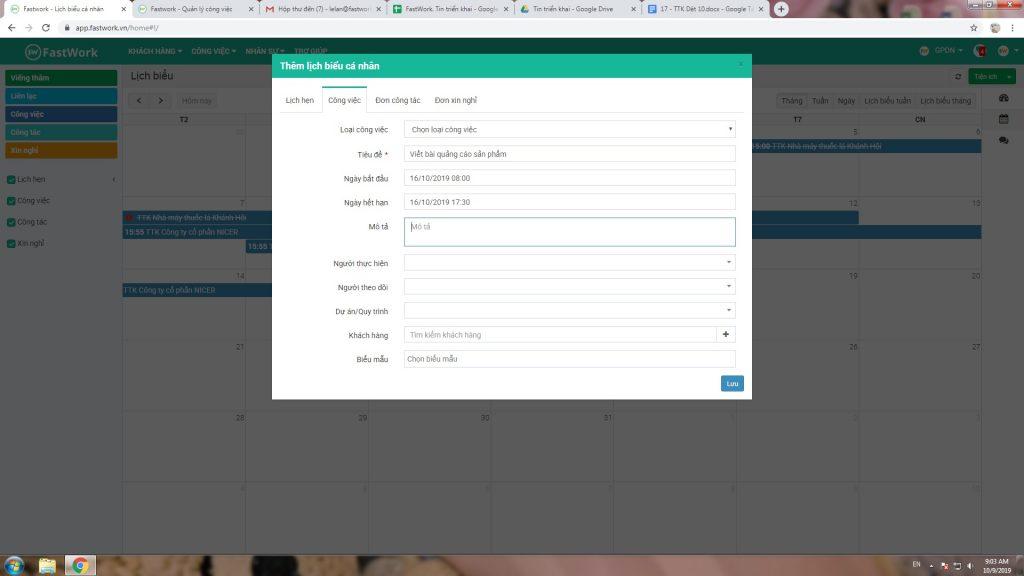 Phần mềm quản lý công việc FastWork