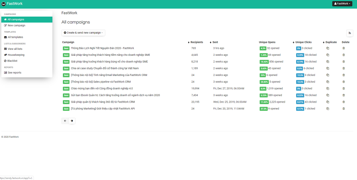 Phần mềm FastWork CRM