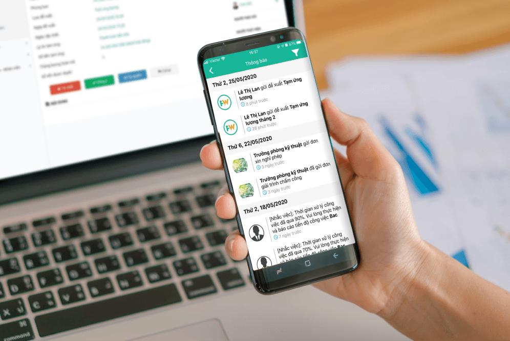 Ban lãnh đạo nhận được ngay notify thông báo có đơn đề xuất mới ngay trên hệ thống phần mềm bằng smartphone