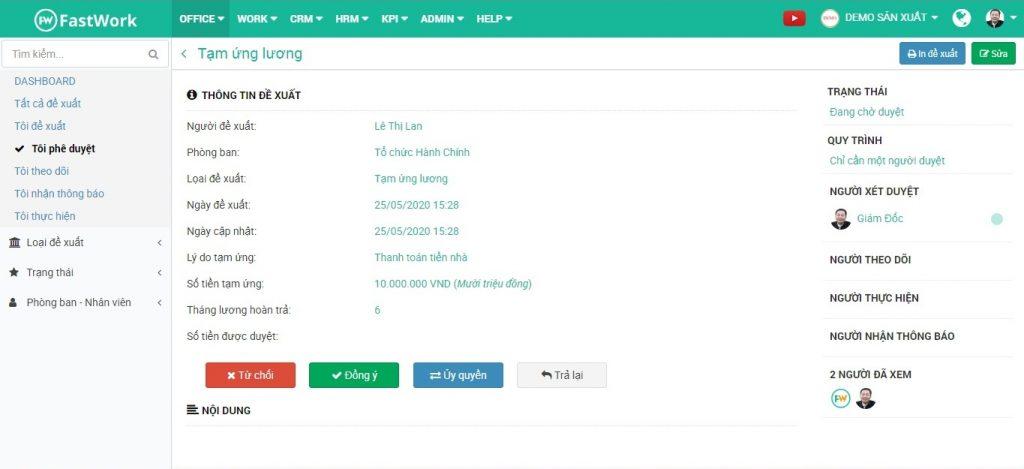 FastWork Request có 3 quy trình duyệt đơn thư: duyệt đồng thời, duyệt lần lượt, một người duyệt