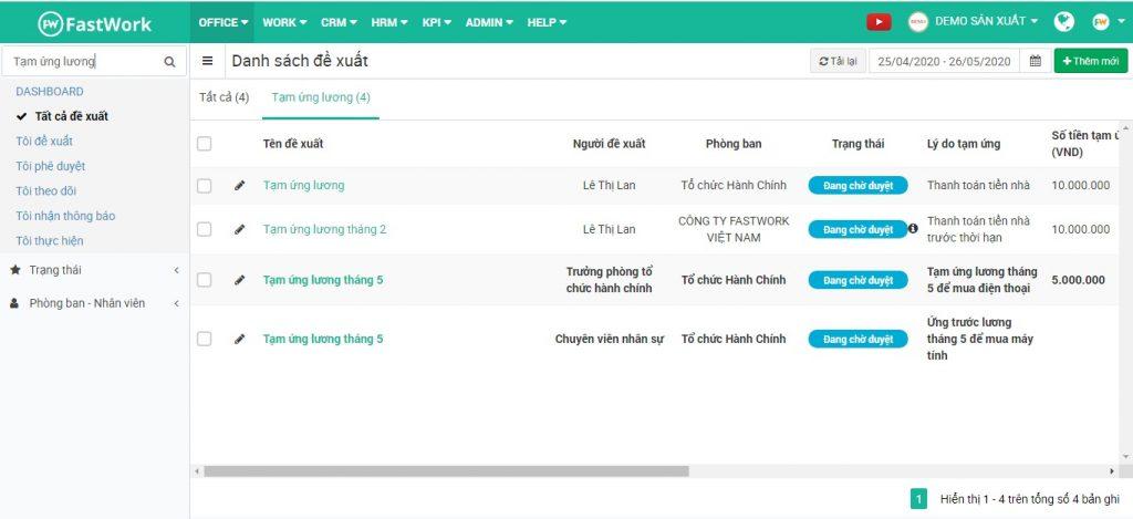 Phần mềm hỗ trợ tìm kiếm nhanh đơn đề xuất theo từ khóa