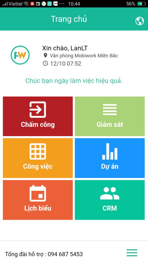 """Bước 1: Mở app FastWork trên smartphone, phần mềm sẽ hiển thị giao diện Dashboard, tại đây chọn """"CRM"""""""