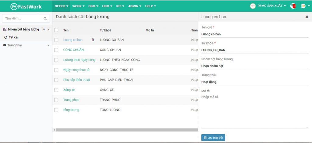 Thiết lập các cột dữ liệu cấu thành bảng lương