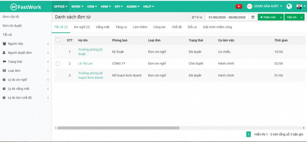 Bước 2: Click vào tên nhân viên cần duyệt đơn, phần mềm tự động hiển thị chi tiết nội dung đơn từ