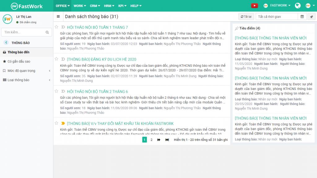 Phần mềm quản lý thông báo và truyền thông nội bộ