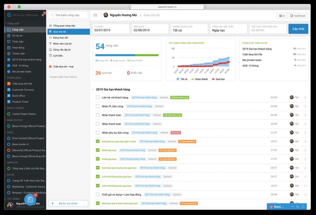 Giao diện phần mềm quản lý công việc Base Wework