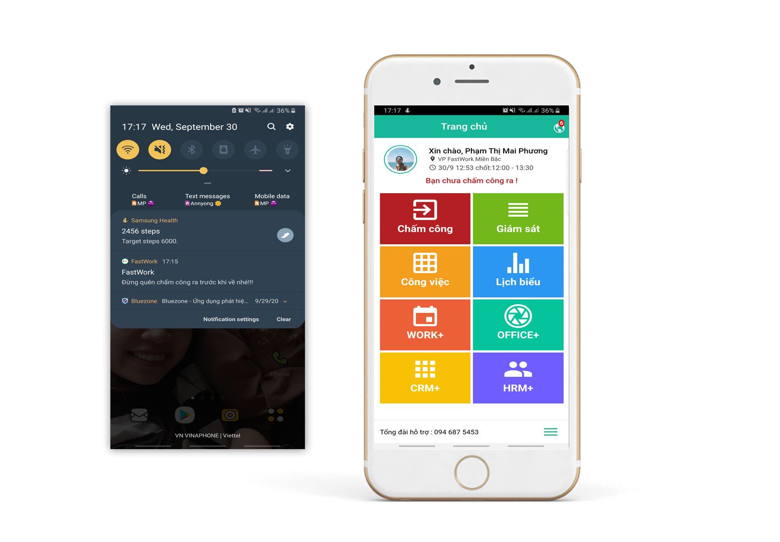 """Bước 1: Mở app FastWork trên smartphone, phần mềm sẽ hiển thị giao diện Dashboard, tại đây chọn """"Chấm công"""""""