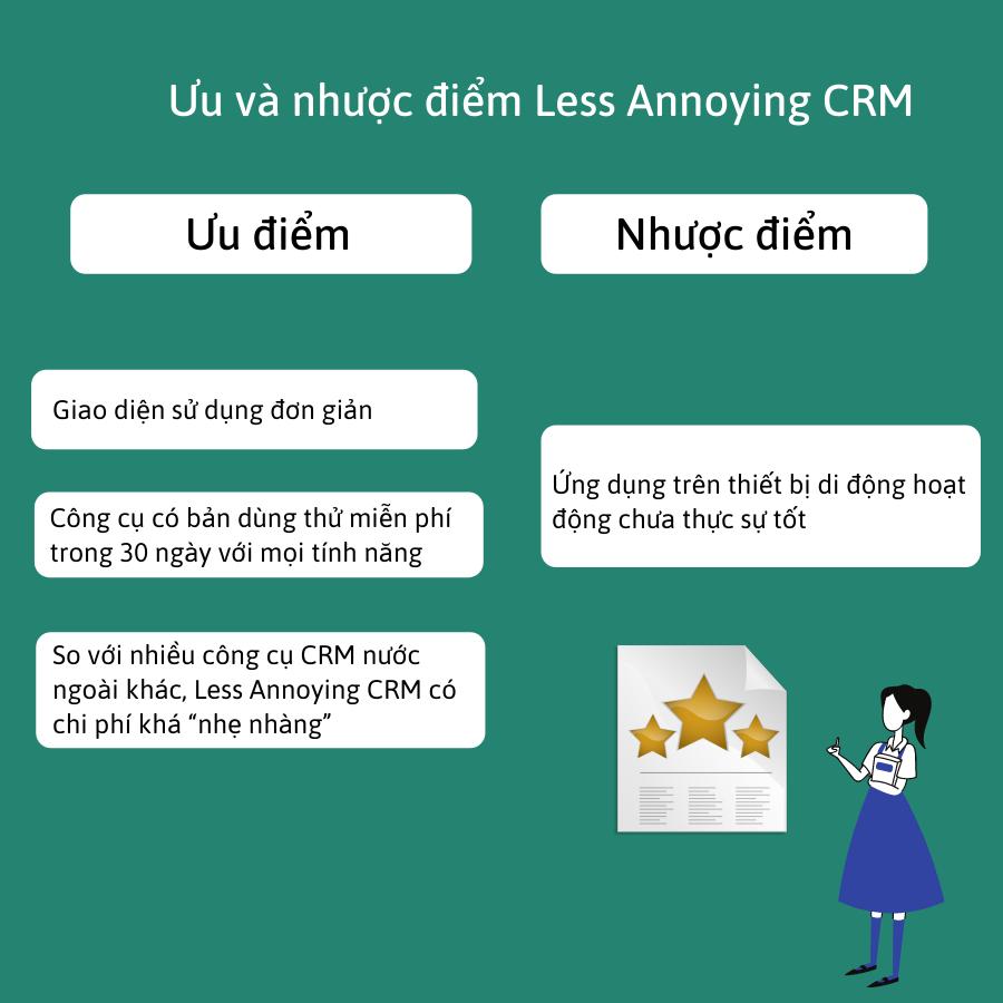 Ưu và nhược điểm của hệ thống CRM Less Annoying