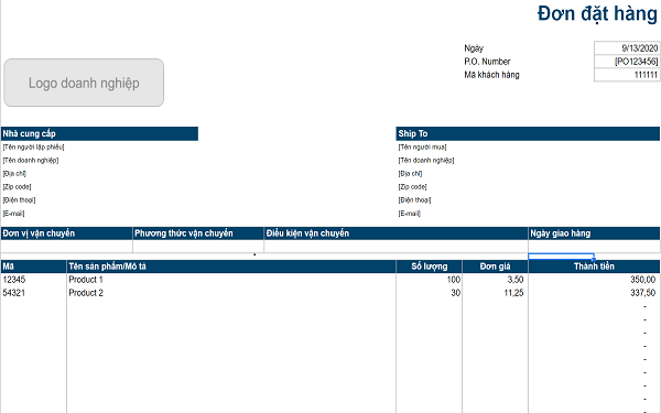 Biểu mẫu Excel đặt hàng sản phẩm