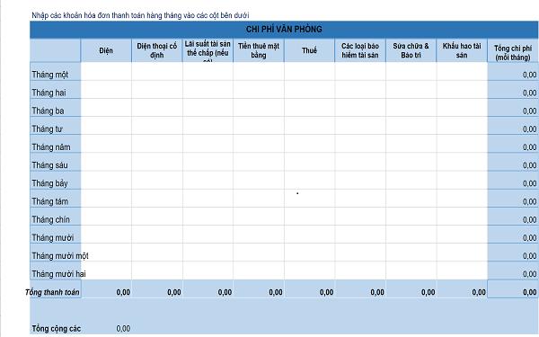Biểu mẫu Excel theo dõi chi phí văn phòng