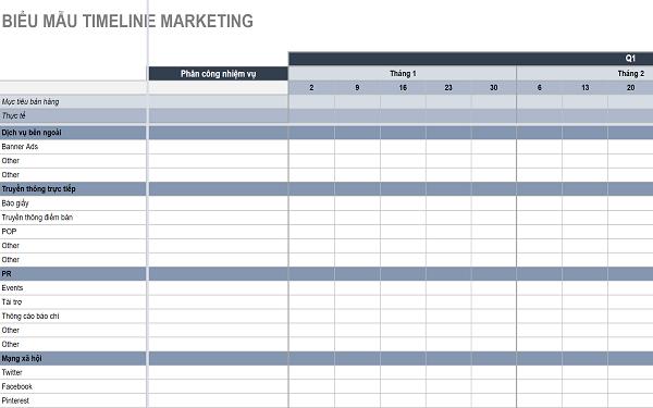 Mẫu timeline kế hoạch truyền thông