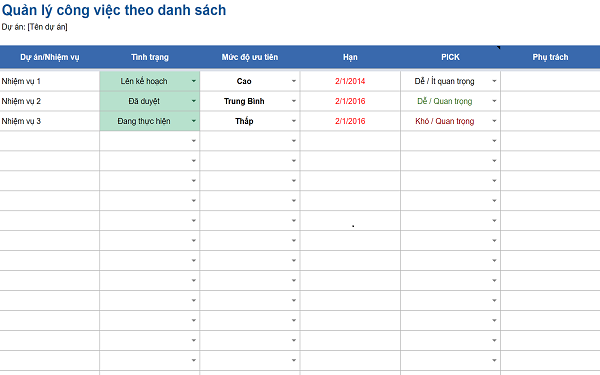 Biểu mẫu Excel quản lý công việc theo danh sách giúp người dùng thêm được các nhiệm vụ dự án, cập nhật trạng thái, mức độ ưu tiên,...