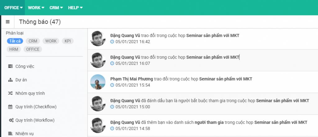 Giao diện thông báo tự động của phần mềm FastWork Meeting