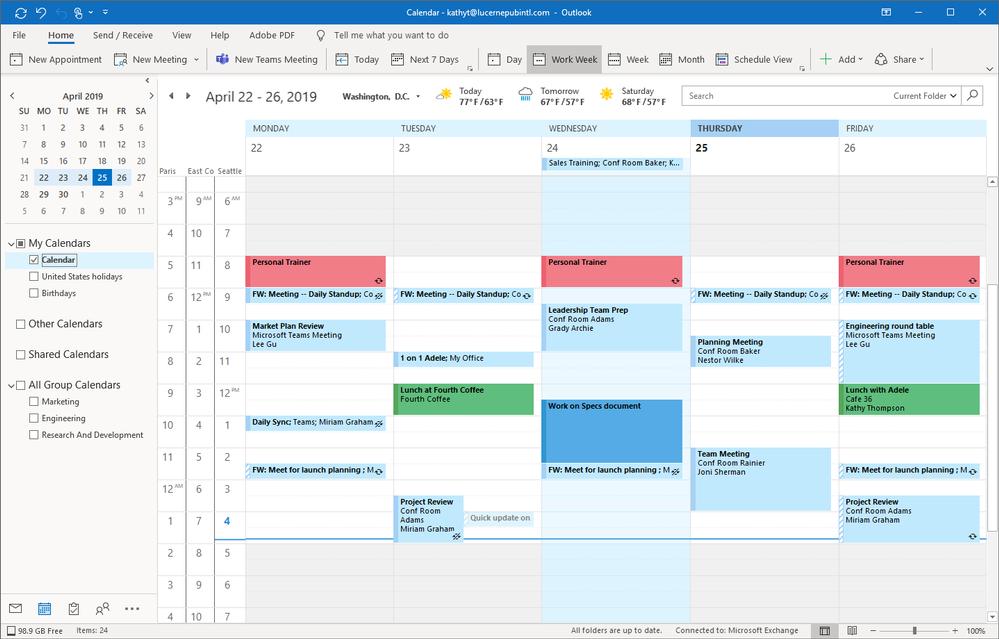 Giao diện quản lý lịch họp trên Outlook