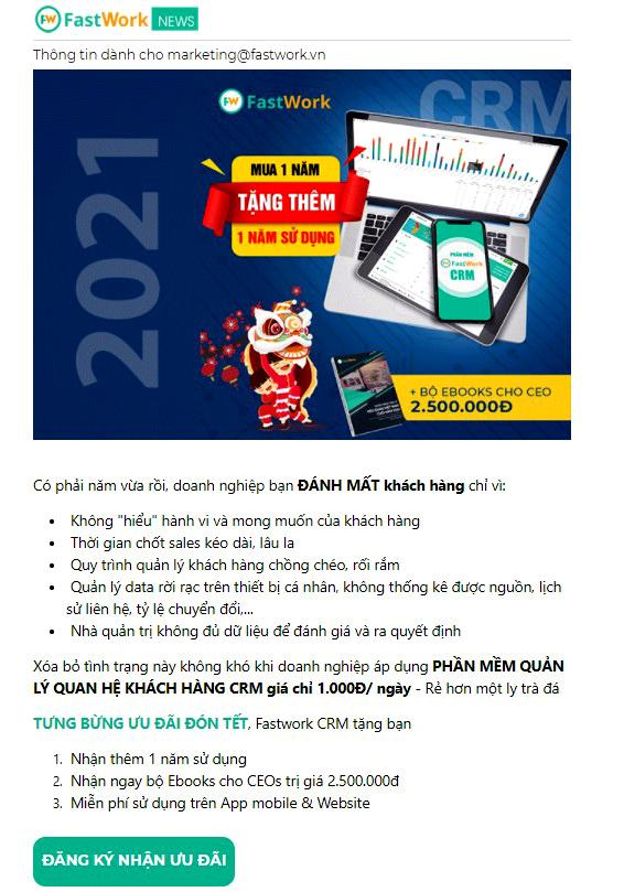 Mẫu Email thông báo chương trình khuyến mãi của công ty