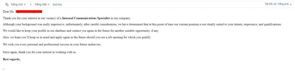 Mẫu thư từ chối ứng viên bằng tiếng anh