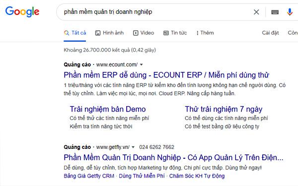Hình thức quảng cáo lên TOP bằng công cụ trả phí Google Ads