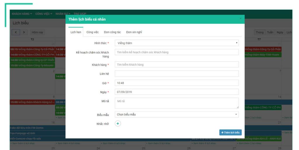 Phần mềm quản lý văn bản và điều hành: Thêm nhanh lịch biểu cá nhân theo biểu mẫu có sẵn